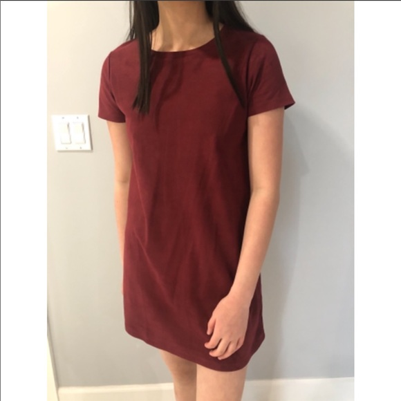 Forever 21 Suede Maroon T-shirt Dress Size: S